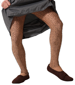 Mens Nude Hairy Legs Tights Funny Stag Do Night Fancy Dress Costume Accessory