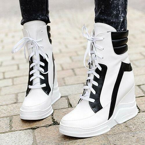 Womens High Top Trainers Platform Wedge Heel Sneakers Lace Up Ankle Boots Shoes