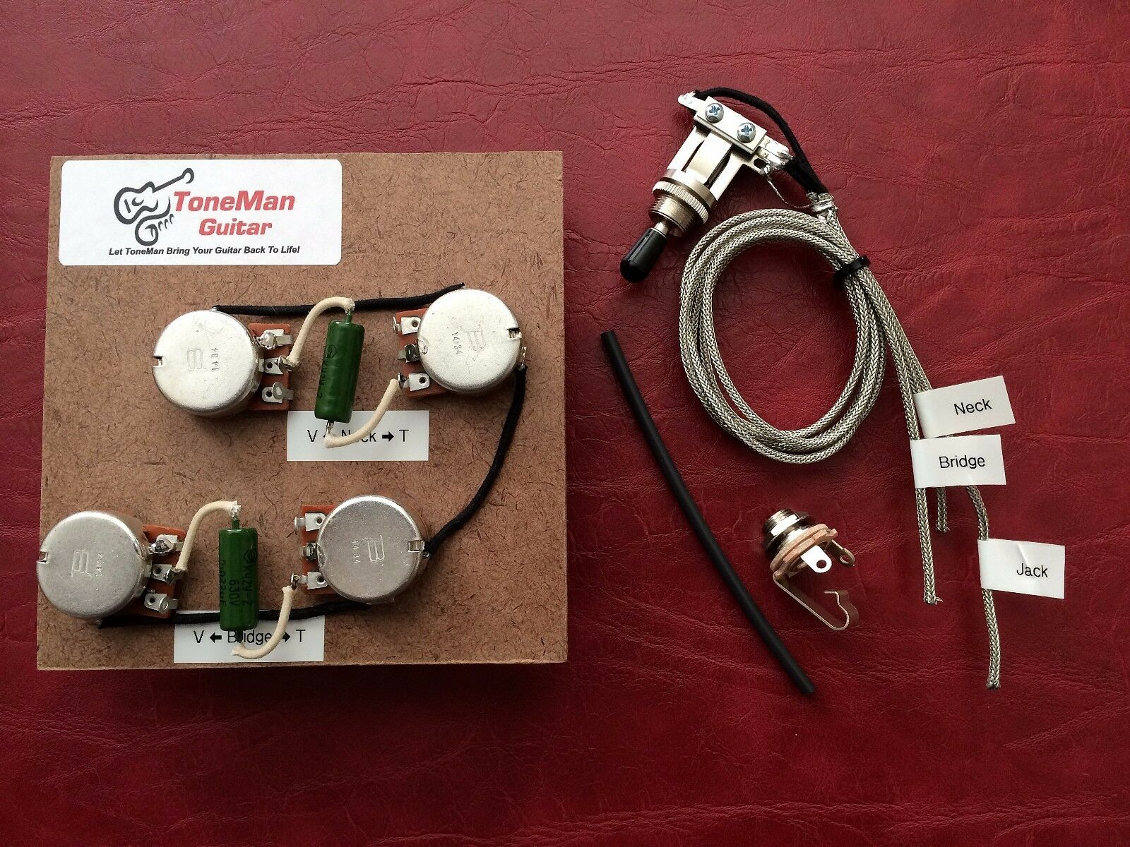 The Blaus prewirot Harness Kit For Gibson Les Paul Long Shaft Pots Switch