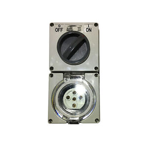 3-Phase-5-Pin-20-Amp-Switched-Socket-Combination-Outlet-Weatherproof-Combo