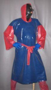 kurzes-Kapuzen-Kleid-Latexkleid-Gummikleid-Gummimantel-Regenumhang-Fetisch