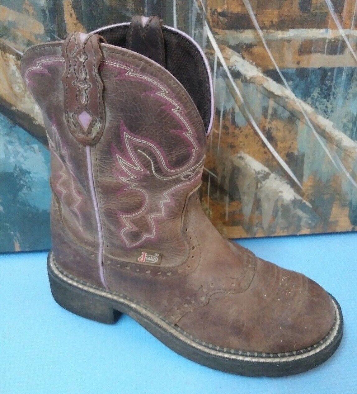 JUSTIN GYPSY 6.5 B L9903 Brown Purple T ROPER WESTERN COWBOY BOOTS