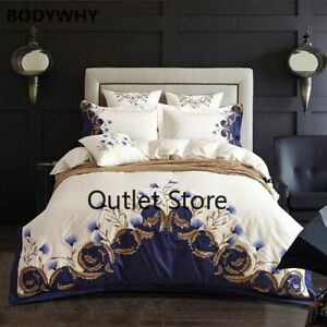 Embroidered Bedding Set Luxury Egyptian Cotton Royal Bed Set Duvet Bed 4Pcs