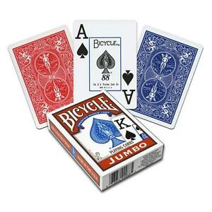 Blue Bicycle Jumbo Index Playing Cards Casino Poker Magic Tricks Games Fun Decks
