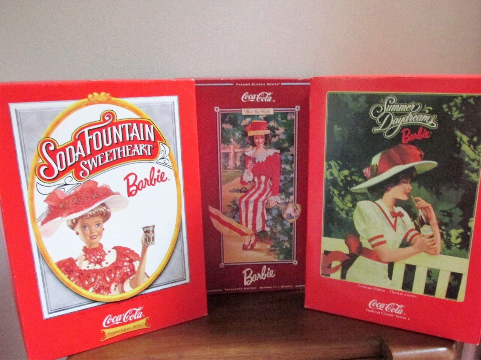 1996-1997-1998 Muñecas Barbie Lote De 3 Coca Cola  Moda Clásico Serie  en Caja Original