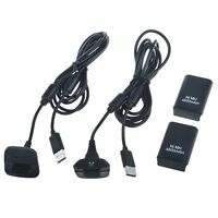 2x 4800mah Battery Pack+ 2 Long Charger Cable Xbox 360 Wireless Controller