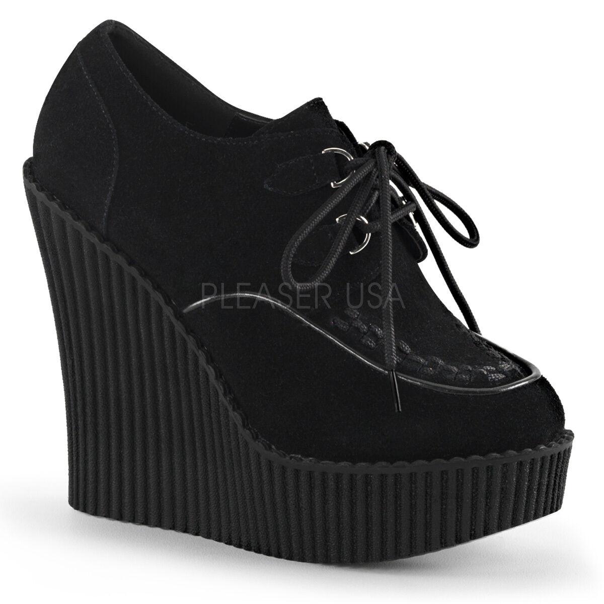 Demonia Creeper 302 Ladies Black Wedge Platform Vegan Suede shoes