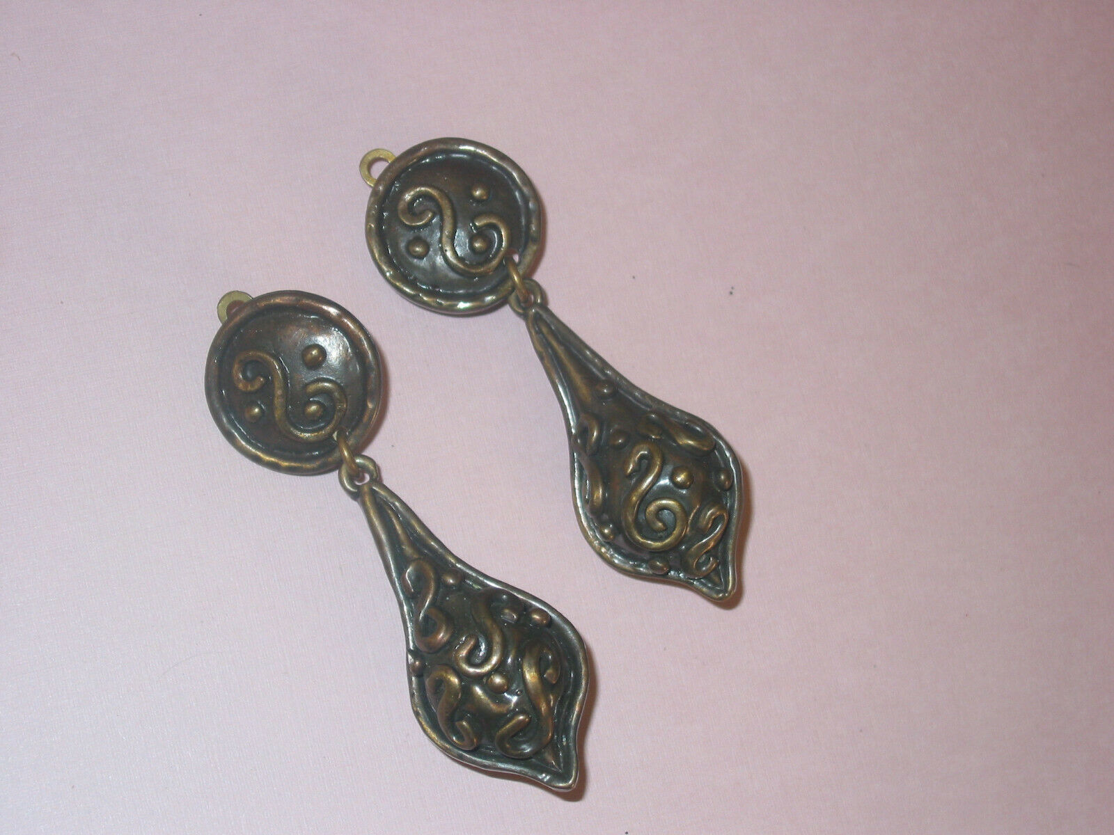 Huge Sterling Silver Lizard Earrings Hand Hammered /& Scaled with Dangle Hooks 1980s