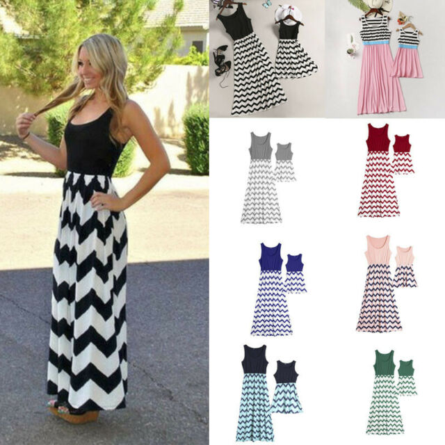 Mother and Daughter Casual Boho Stripe Maxi Dress Mom/&Kid Matching Set Outfits #