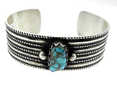 Packard's Arland Ben Candelaria Turquoise Sterling Silver Stamped Cuff Bracelet
