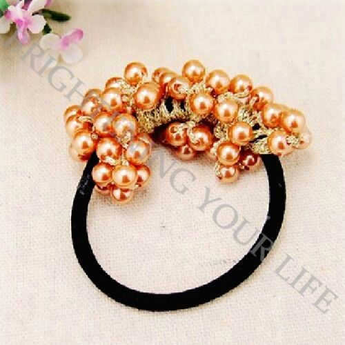 Women Girls Cute Pearls Beads Hair Band Rope Ponytail Holder Scrunchie 4 Colors