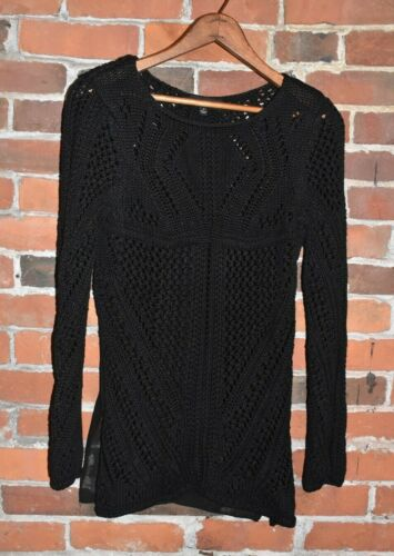ENGLISH ROSE Black Knit Sweater with Sheer Back Go