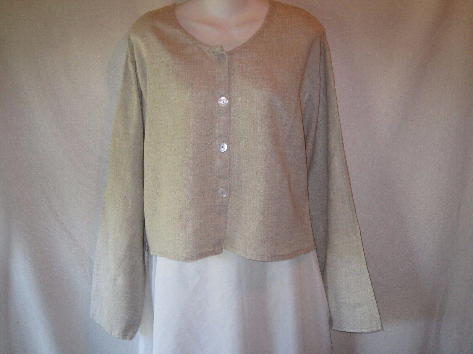 FLAX Jeanne Engelhart Natural Linen Boxy Button Front Shirt Jacket Lagenlook L