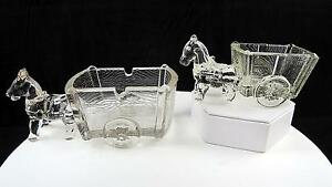 K-R-HALEY-CLEAR-PRESSED-GLASS-2-PC-HORSE-amp-CART-4-5-034-amp-6-1-2-034-CANDY-CONTAINERS