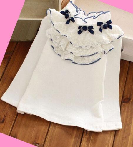 Filles Blouse Top à volants shirt blanc cassé manches longues été printemps 2-12 ans