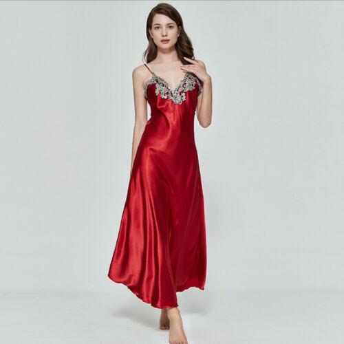 USA Women V-neck Satin Silk Lace Lingerie Pajama Night Dress Nightgown Sleepwear