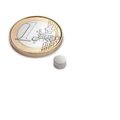 10er Set Scheibenmagnet Durchmesser 5x3 mm Neodym vernickelt Supermagnet N45