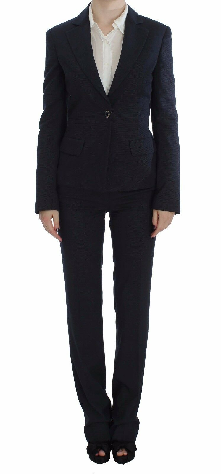 NEW EXTE Suit Pants Blazer Two Piece One Button bluee Stretch IT48  US14 XL