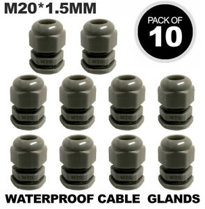 10 X M20 WHITE 20MM IP68 WATERPROOF COMPRESSION CABLE STUFFING GLAND LOCKNUT