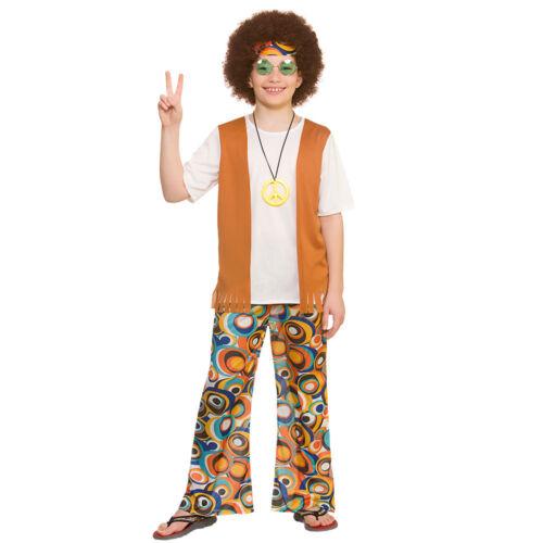 Kids Boys 60s 70s Groovy Retro Hippie Hippy Fancy Dress Costume 5-13 Years