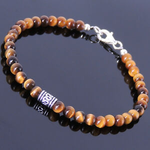 Men S Women Gemstone Clasp Yoga Bracelet 4mm Brown Tiger