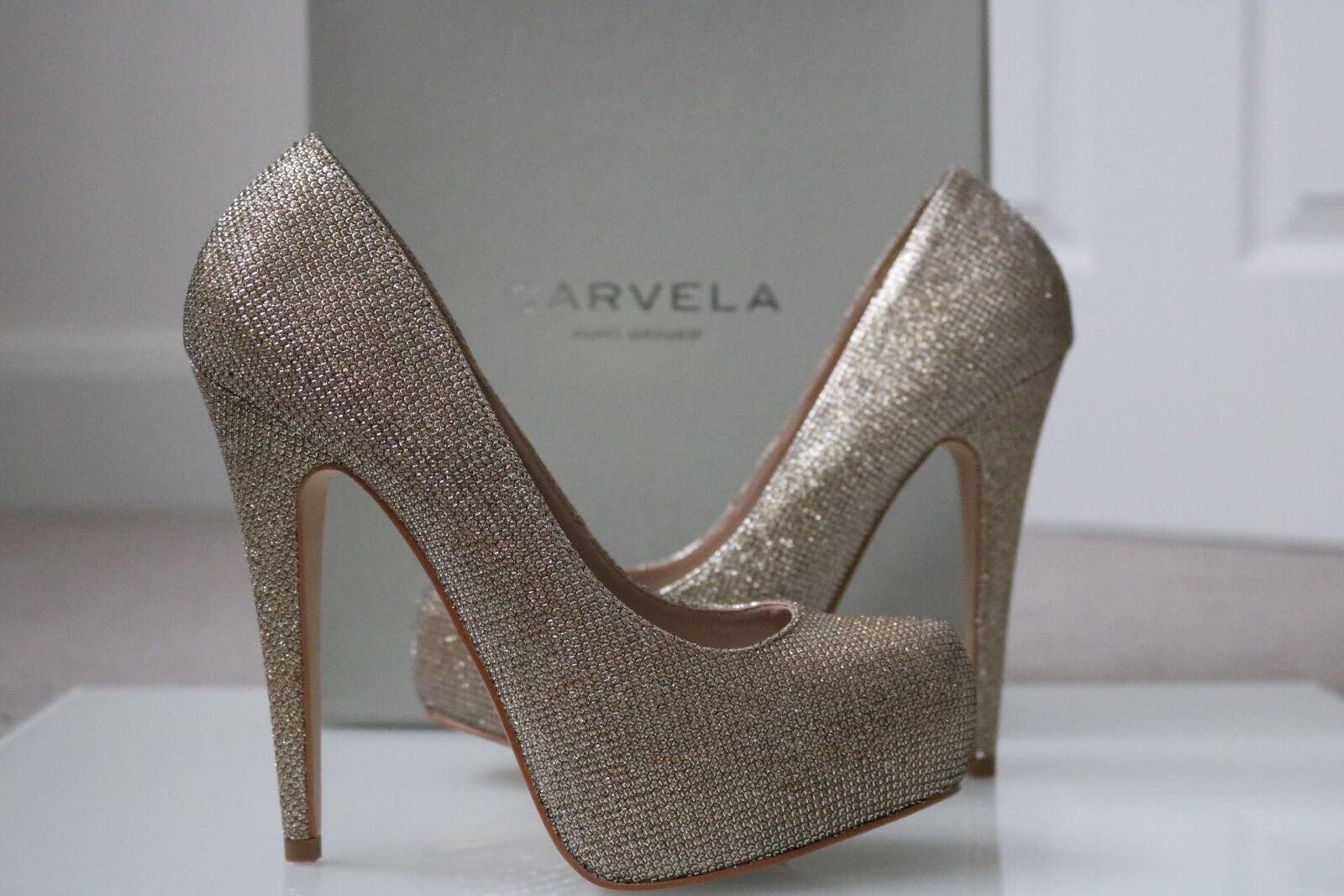 Carvela gold Glitter Kaci Size 4 37 Kurt Geiger Heel shoes