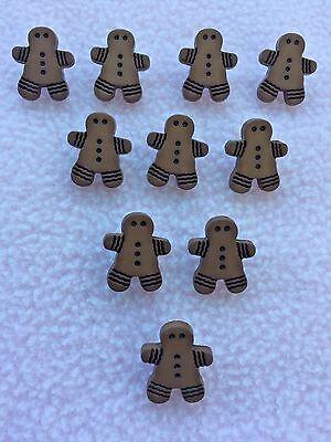 17 mm x 15 mm Craft//Bébés 10 x Gingerbread Man en forme de boutons ~ Env
