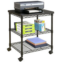 Desk Side Mobile Printer Cart Table 27in Steel Wire Shelf Machine Stand Black