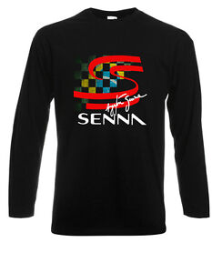 New Ayrton Senna F1 Brazilian Racing Legend Long Sleeve Black T-Shirt Size S-3XL