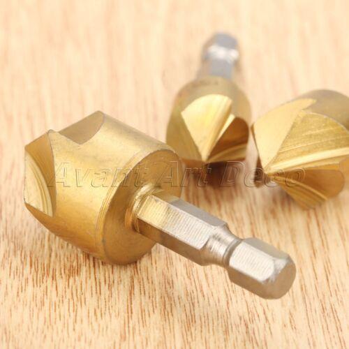 3pcs HSS Titanium Coated Drill Bits Countersink Deburring Chamfering Power Tool