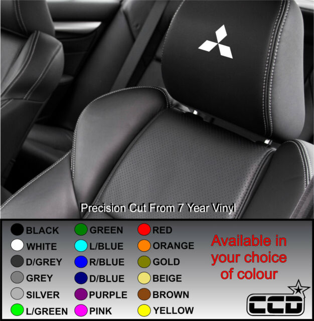 MITSUBISHI LOGO CAR SEAT / HEADREST DECALS - BADGE  Vinyl Stickers -Graphics X5