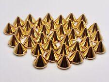 100 Gold Tone Metallic Rock Punk Spike Rivet Acrylic Taper Stud Beads 10X8mm