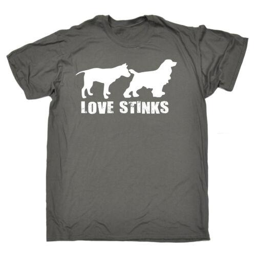 Love Stinks Da Uomo T-shirt Tee Compleanno Cacca Naughty Dog Maleducato Ragazzo Divertente Regalo