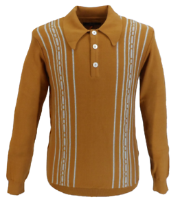 Trojan Records Mens Golden Tan Spear Point Collar Cable Knitted Polo Shirt