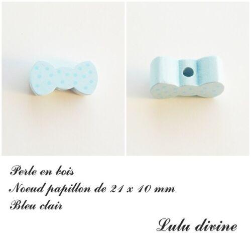 Perle plate Noeud papillon Perle en bois de 21 x 10 mm Bleu clair