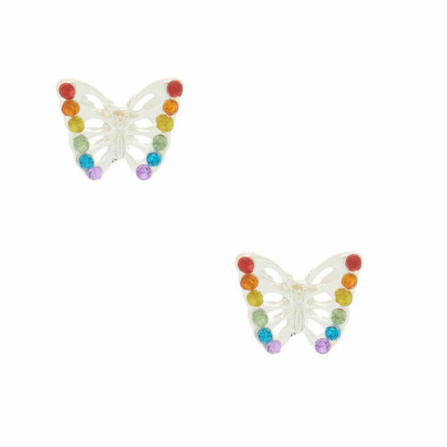 Claire/'s Girl/'s Rainbow Butterfly Stud Earrings