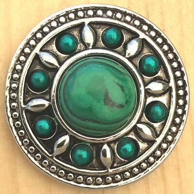 |/%Snap.Chunk Button 20mm Silver Green Set Charm For Ginger Snap Style Jewelry