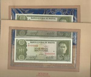 Most Treasured Banknotes Bolivia P-154a 10 Pesos 1962 UNC Prefix R Consecutive #