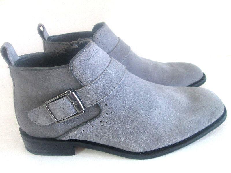 La Milano Gamuza Tobillo botas gris Azul Marino  Cremallera Lateral Vestido Hebilla + Slip-on B5530