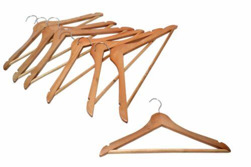 Holz Kleiderbügel 7-er Pack aus Naturholz mit Hosenstange Gaderobe Bügel Steg