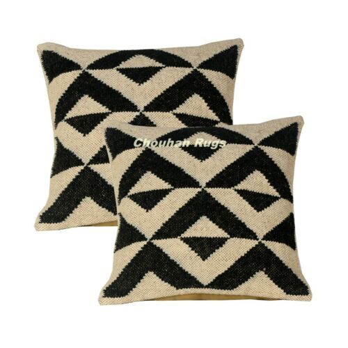 2 Set of Vintage Kilim Pillow Hand Woven Jute Rug Rustic Pillow covers 1089-BB
