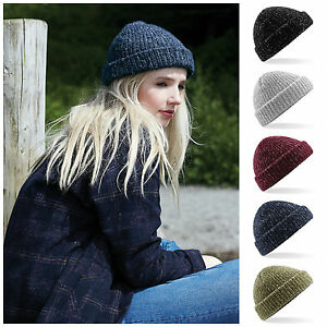 Fisherman Beanie Hat Winter Warm Turn Up Retro Mens Womens Ladies