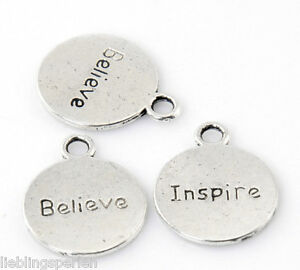 20-aelter-Silber-034-Believe-Inspire-034-Charm-Anhaenger-fuer-Armband-Kette-20x16mm