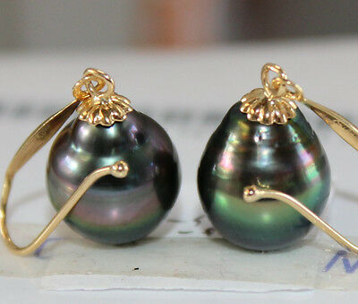 Pair Of 15 X10.5 Mm Natural Tahitian Genuine Black Pearl Earring 14 K Gold Marked by Ebay Seller