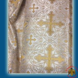 Fabric For Orthodox Vestment Liturgical Light Blue Gold Design Paramentenstoff