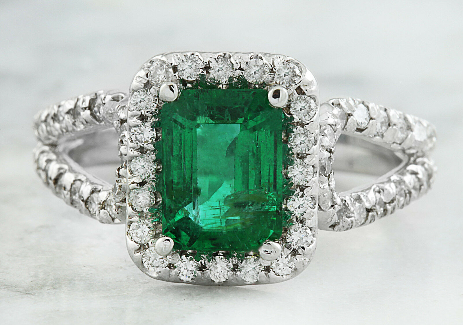 2.10 Carat Genuine Emerald 14K Solid White gold Diamond Ring