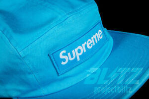 c013482f420 SUPREME WASHED CHINO TWILL CAMP CAP NEON BLUE FW18 2018 WHITE BLACK ...