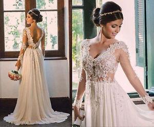 Lace-Chiffon-Boho-Beach-Wedding-Dress-with-Long-Sleeves-Lace-Pearl-Beads-Summer