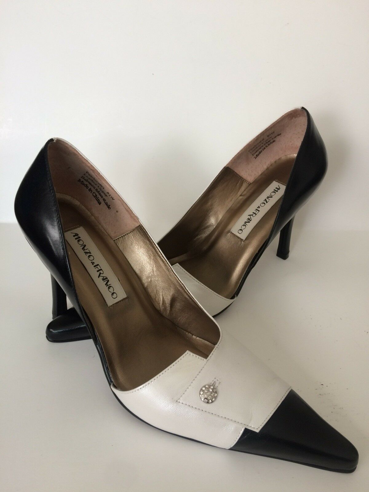NWB  Monzo & Franco Franco Franco Women's shoes Size 8.5W Black Pearl 4  Heel cde418