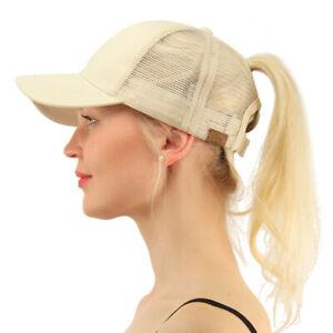 England Ponytail Messy High Bun Hat Ponycaps Baseball Cap Adjustable Trucker Cap Mesh Cap